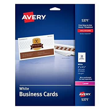 Amazon avery business cards uncoated 2 x 3 12 250 avery business cards uncoated 2quot x 3 12quot reheart