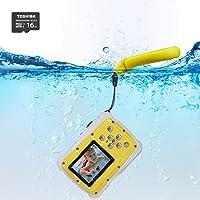 Waterproof Camera Kids,LELEKEY 12MP HD Mini Underwater Action Camera Camcorder 2 inch LCD 9.9 Ft Waterproof Starter Camera Including Float Strap 16GB Memory Card (Yellow)