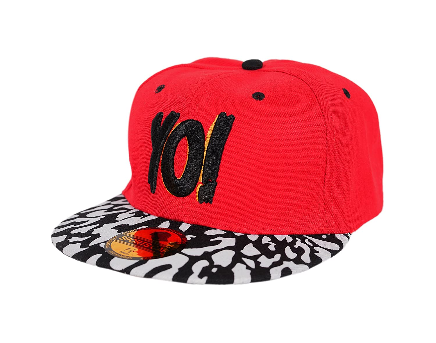 a3f7f27d82016 Krystle Unisex Cotton Red Black YO Hip Hop Snapback Cap  Amazon.in  Clothing    Accessories