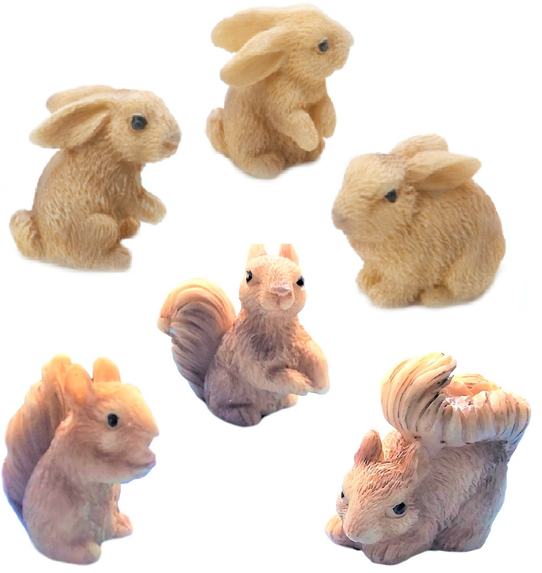 Miniature Fairy Garden Realistic Tiny 1'' x 1'' x1'' Bunny Rabbits and 1.2'' x 1'' x 0.70'' Squirrels - Made of Resin - For Outdoor or House Decor - Bundle of 6 Mini Garden Animals - Farm Woodland Creatures