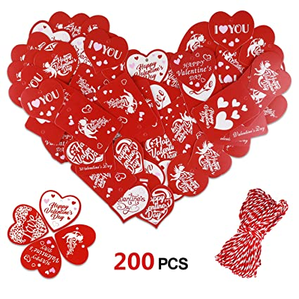 Amazon Com Konsait 200 Pcs Valentine Gift Tags Kraft Paper Gift