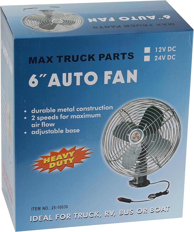 """12 Volt Chrome 6/"""" Metal Fan 2 Speeds Adjustable Base Truck RV Bus Car or Boat"""