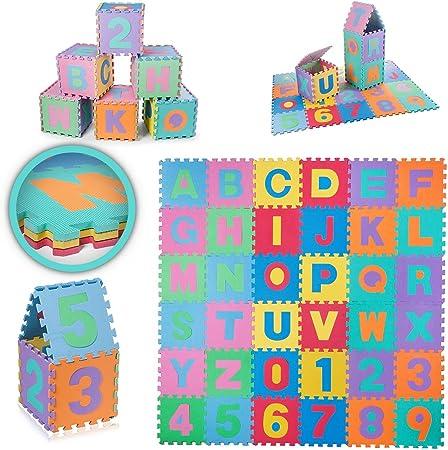 Tappeto puzzle 86 pezzi tappetino gioco gigante per bambini con lettere e numeri