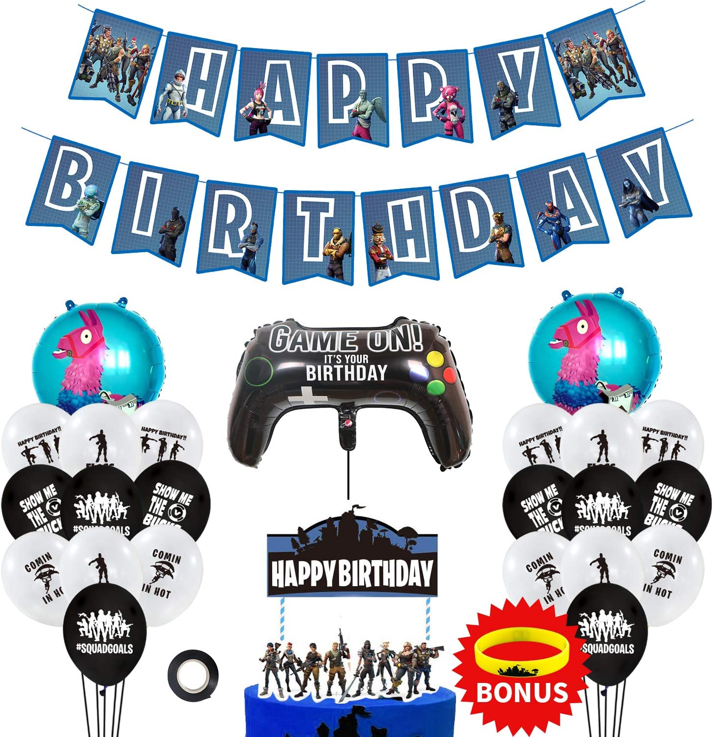 URBAN NIRVANA Party Supplies Set | Happy Birthday Cake Topper Foil & Latex Balloons | Video Game Theme Decorations Supply Kit for Adults, Teens, Boys, ...