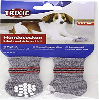 X-Small Black//Grey 2-Piece Trixie Walker Socks Rabbits Paw Protection