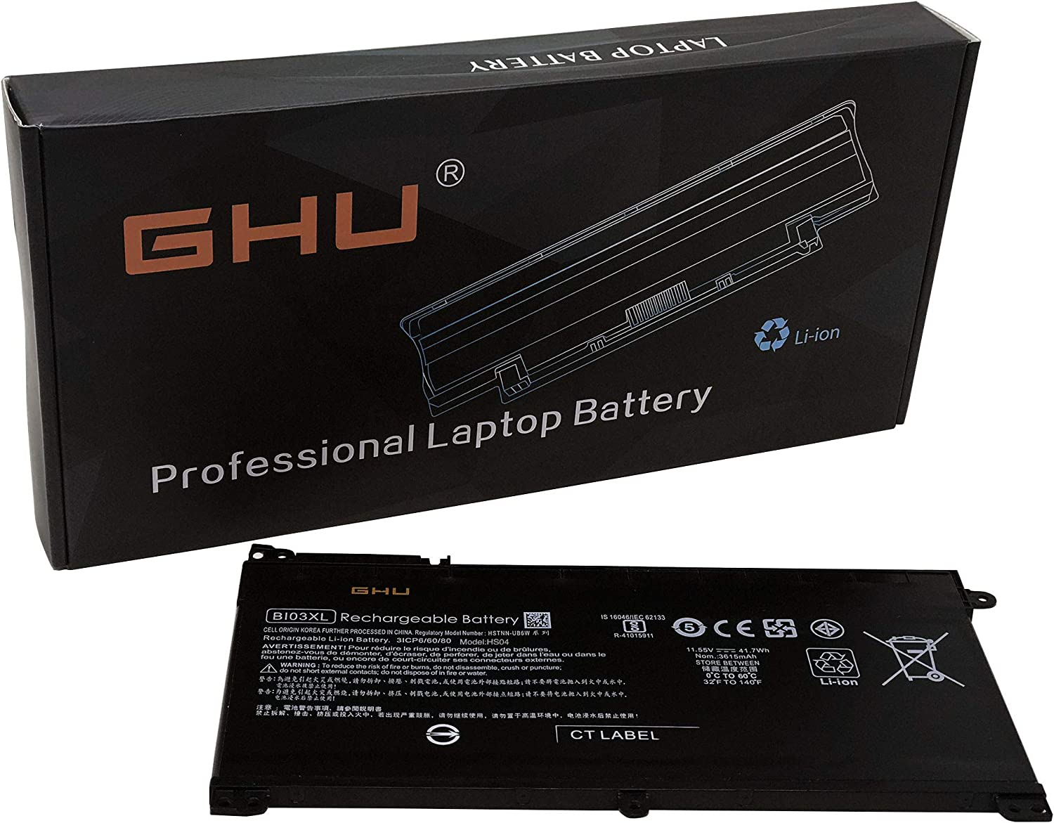 New GHU BI03XL ON03XL Laptop Battery Compatible with HP Pavilion X360 13-U M3-U M3-U001DX M3-U103DX 13-U100TU 13-U100TU Stream 14-AX 14-ax010wm 14-ax020wm 14-ax030wm Series HSTNN-UB6W 41.7Wh 11.55V