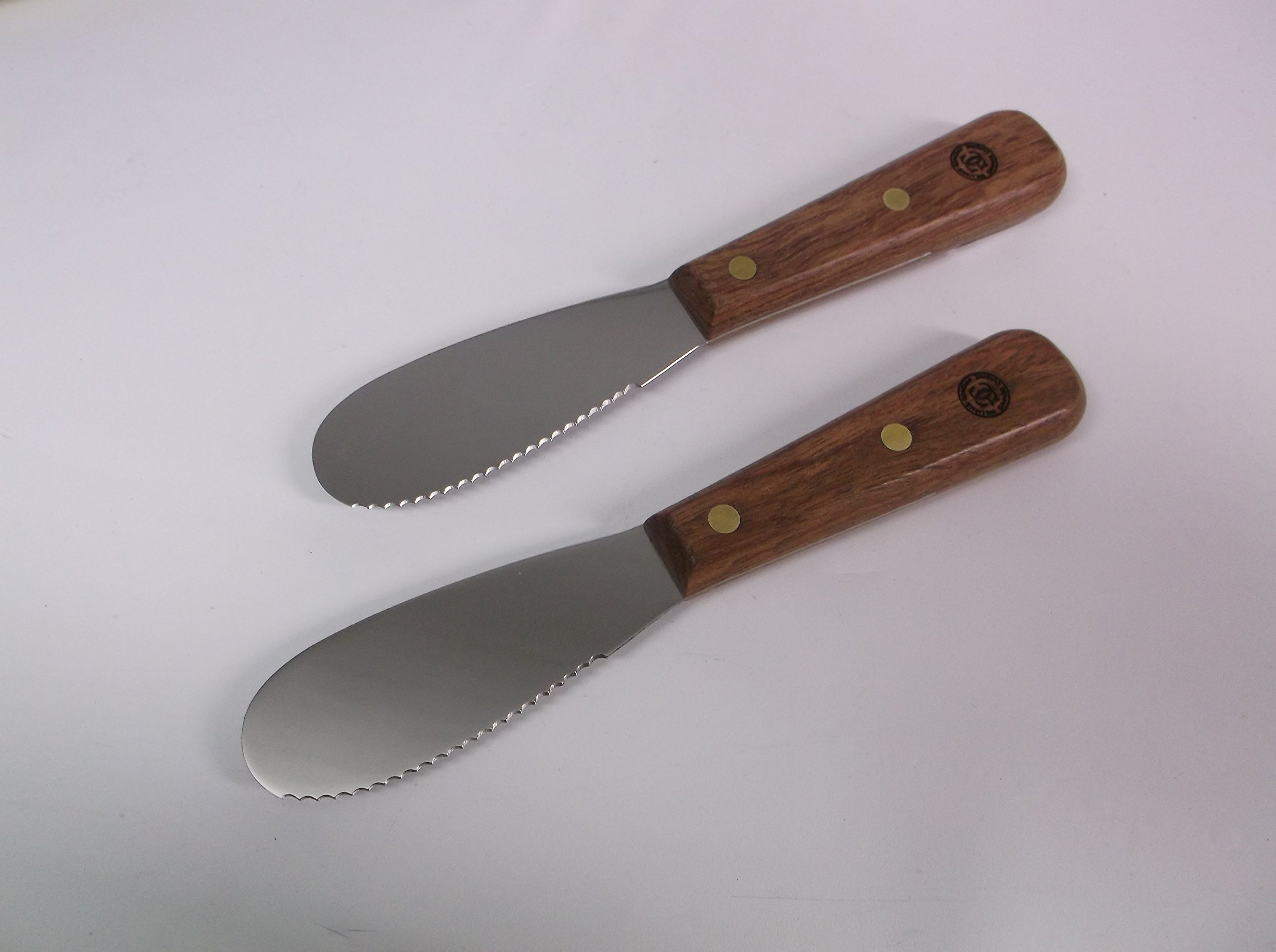 Williams Sonoma - Set of (2) - 3.5in Scalloped Sandwich Spreaders Rosewood Handles Brand NEW