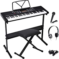ZENY 61-Key Portable Electric Keyboard Piano with Built In Speakers, LED Screen, Headphones, Microphone, Piano Stand…