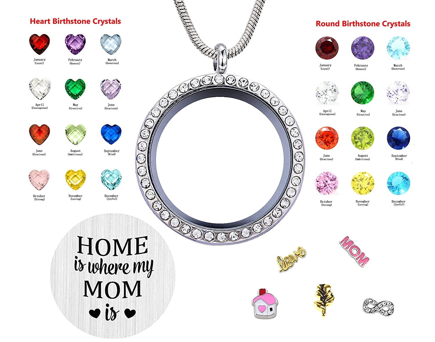 JOLIN Best Mom Gift Women Floating Living Memory Locket Necklace Pendant with Charms /& Birthstones for Mother