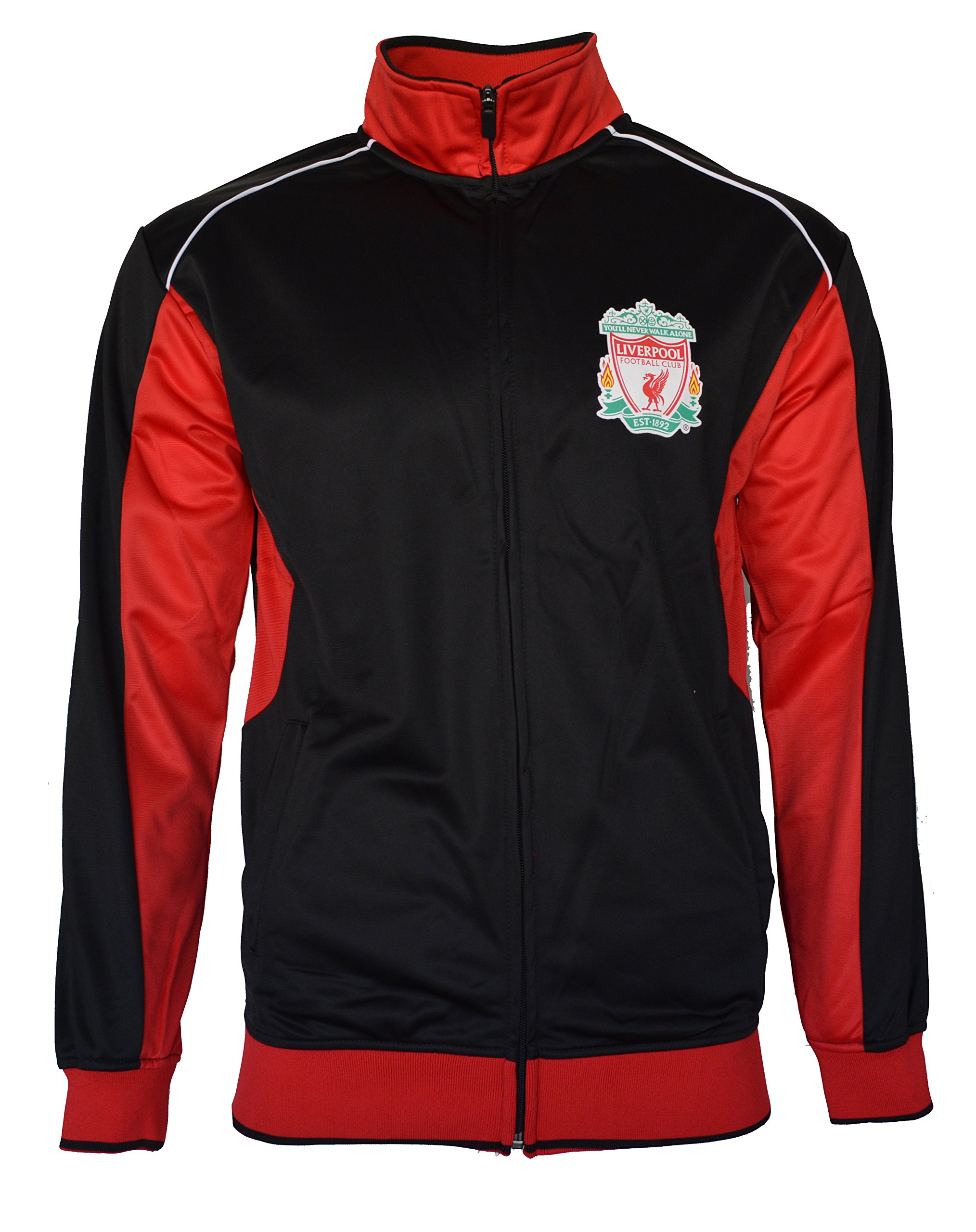 Liverpool Track Jacket Youth Boys Zip Front Soccer Football Official Merchandise (YL, BLACK BB1H-02)