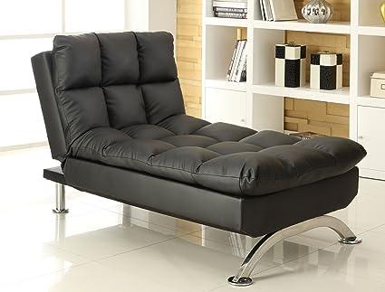 Amazon.com: Furniture of America Lenard Leatherette Chaise ...