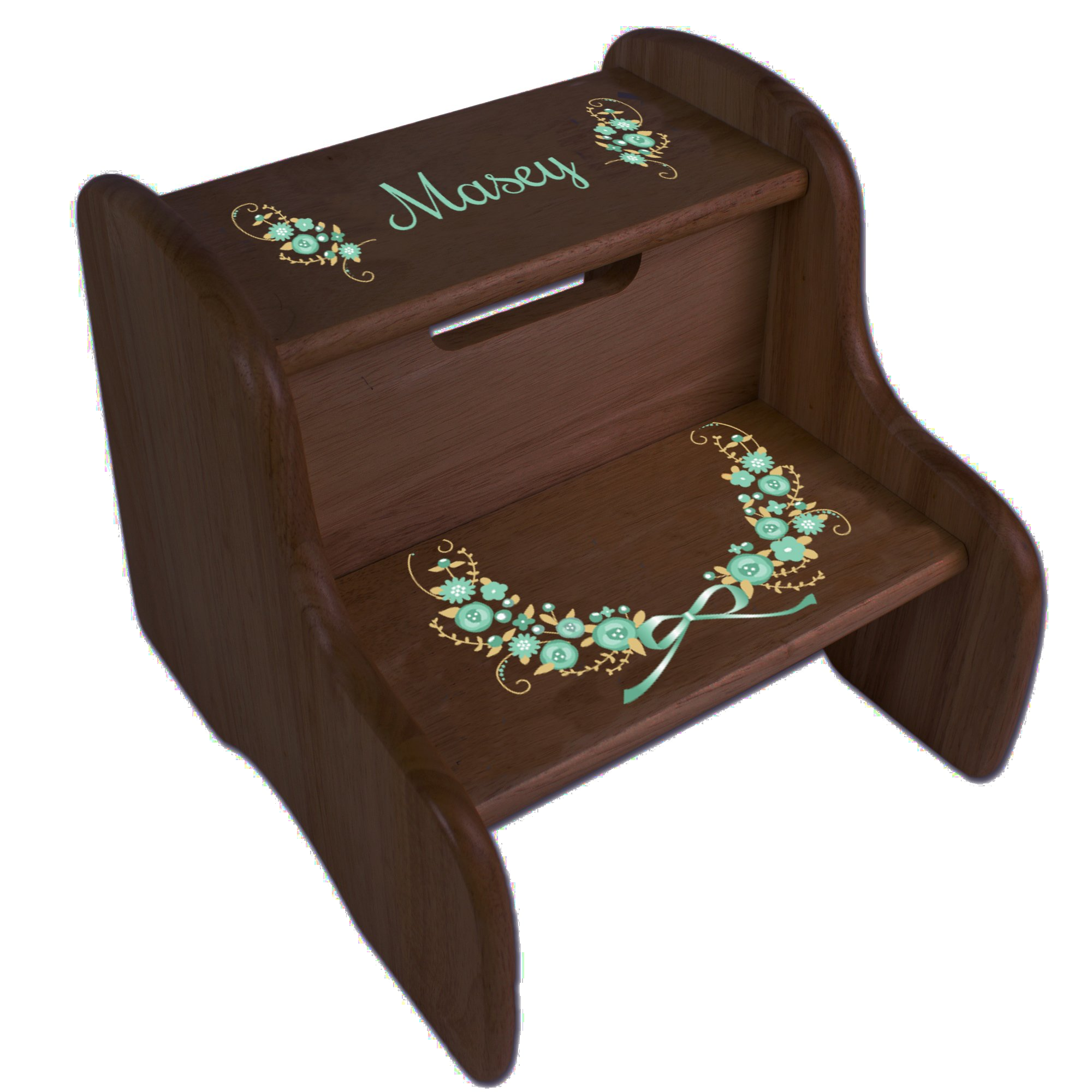 Personalized Golden Mint Vintage Garland Espresso Two Step Stool