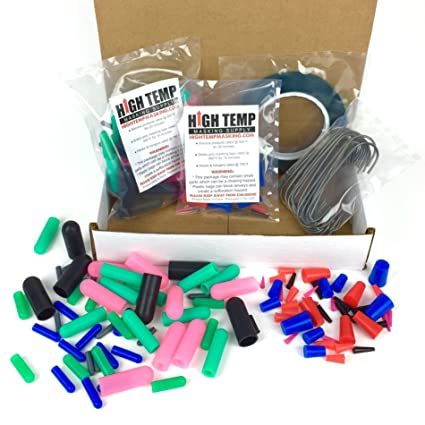124 Piece High Temp Silicone Plug, Cap, Masking Tape and Hook Assortment -  Complete Masking System Kit for Powder Coating, Painting, Anodizing,