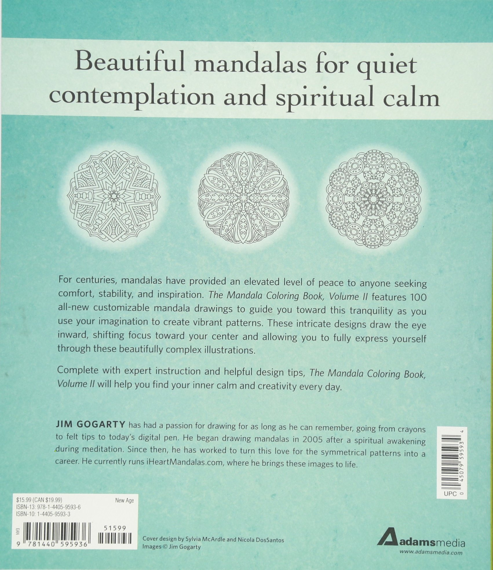 Amazon The Mandala Coloring Book Volume II Relax Calm Your Mind And Find Peace With 100 Pages 9781440595936 Jim Gogarty Books