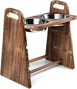 Emfogo Dog Bowls Elevated 3 Heights 4in 8in 13in Rustic Wood Elevated Dog Cat Dishes with Double Stainless Steel Dog Food Bowls Stand Raised Pet Feeder 16.7x15.5 inch Carbonized Black