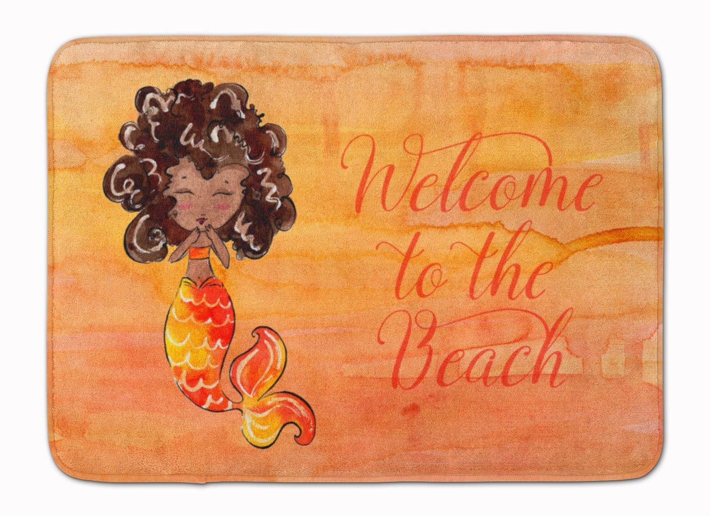 Carolines Treasures Mermaid Welcome Orange Floor Mat 19 x 27 Multicolor