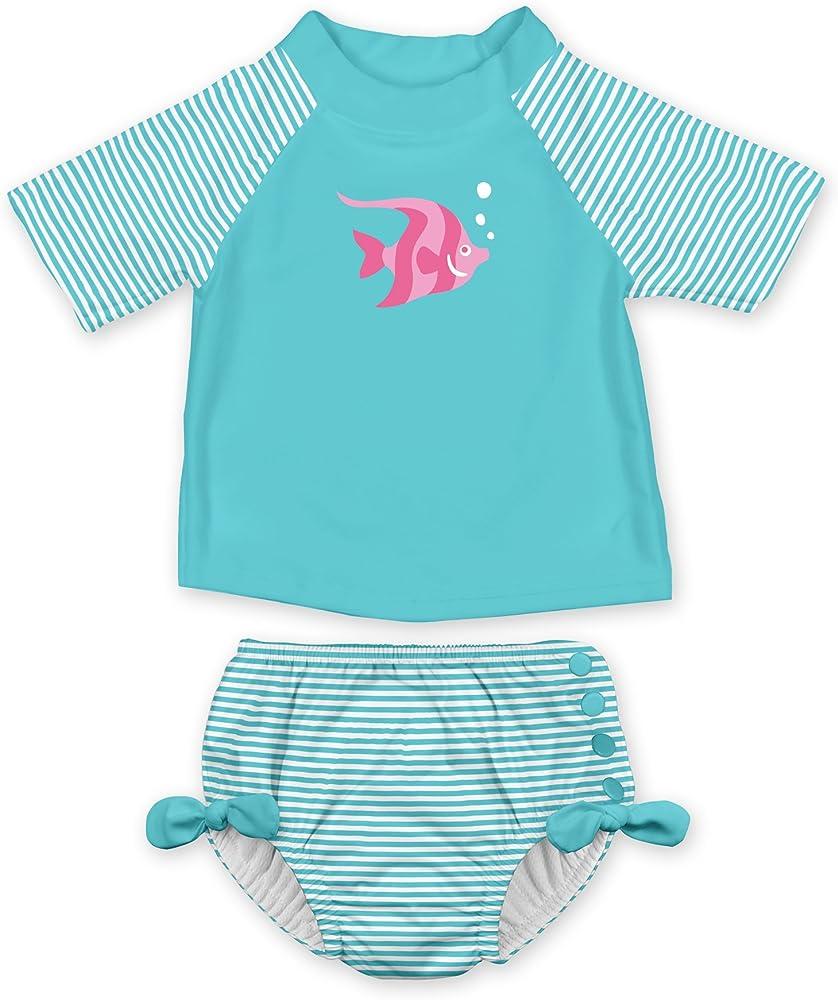 07ec3806e Toddler Girls' 2pc Rashguard Swimsuit Set with Snap Reusable Swim Diaper,