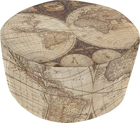 Amazon vintage world map round pouf ottoman kitchen dining vintage world map round pouf ottoman gumiabroncs Images