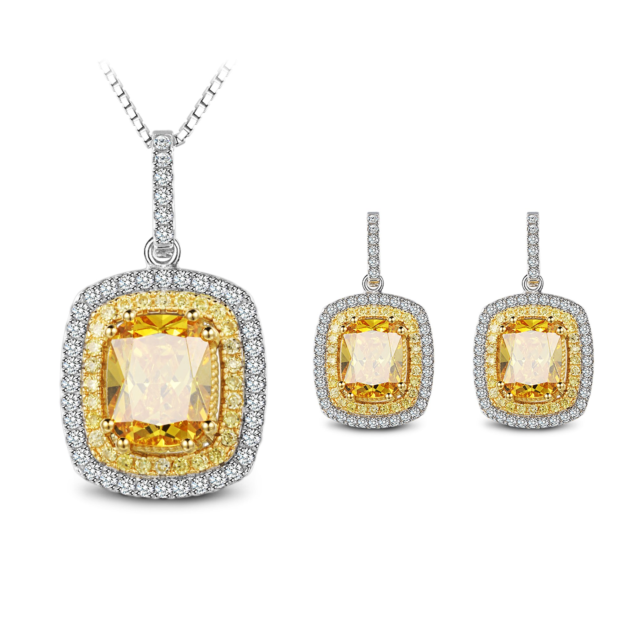 925 Sterling Silver Cubic Zirconia Pendant Necklace & Earrings Jewelry Sets Love Gift