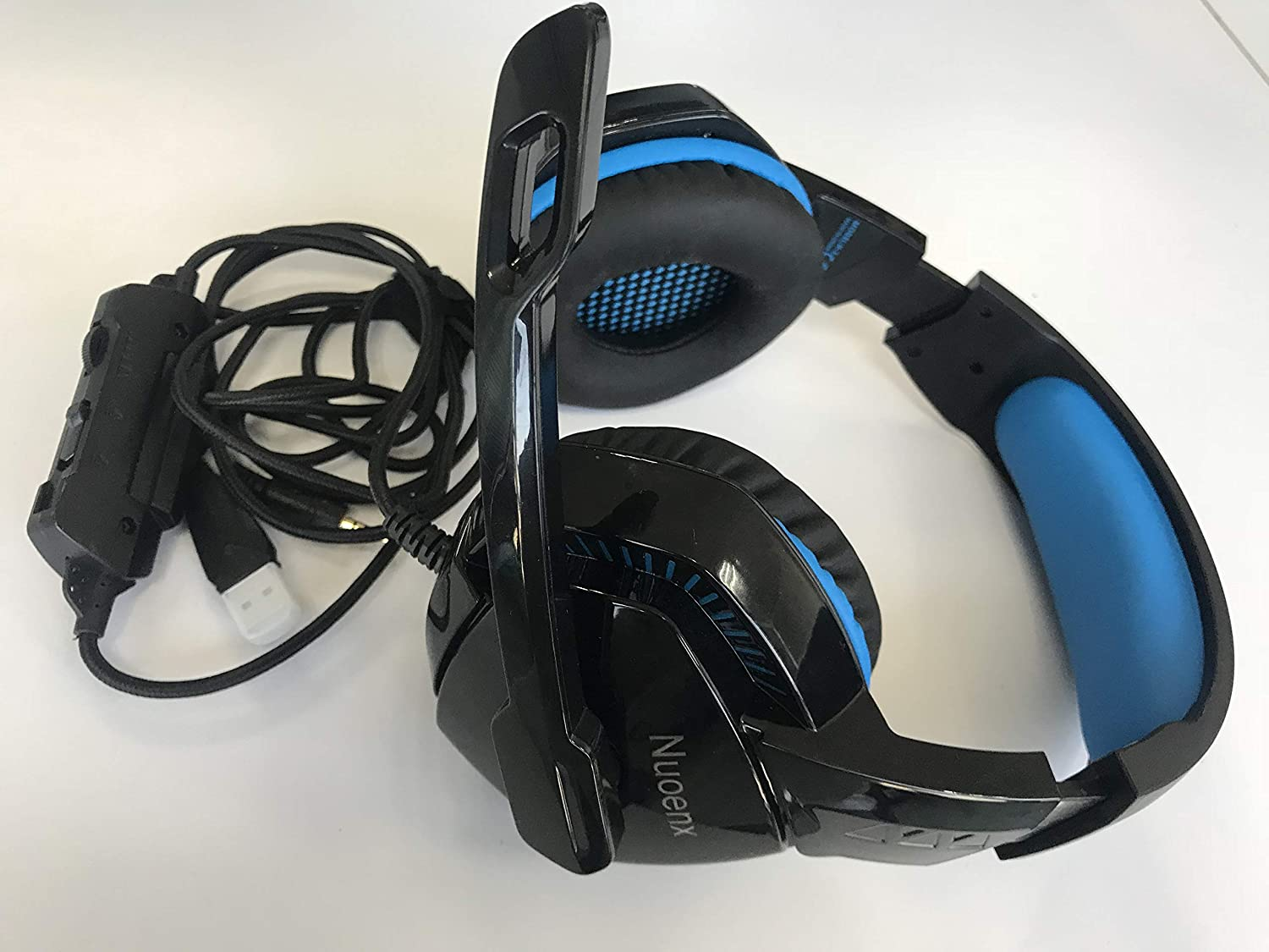 Nuoenx On Ear Headphones with Mic Lightweight Portable Fold-Flat Stereo Bass Headphones with 1.5M Tangle Free Cord and Microphone-Black /& Blue