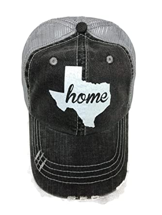 Spirit Caps White Glitter Texas Home Distressed Look Grey Trucker ... dea16d83d4b