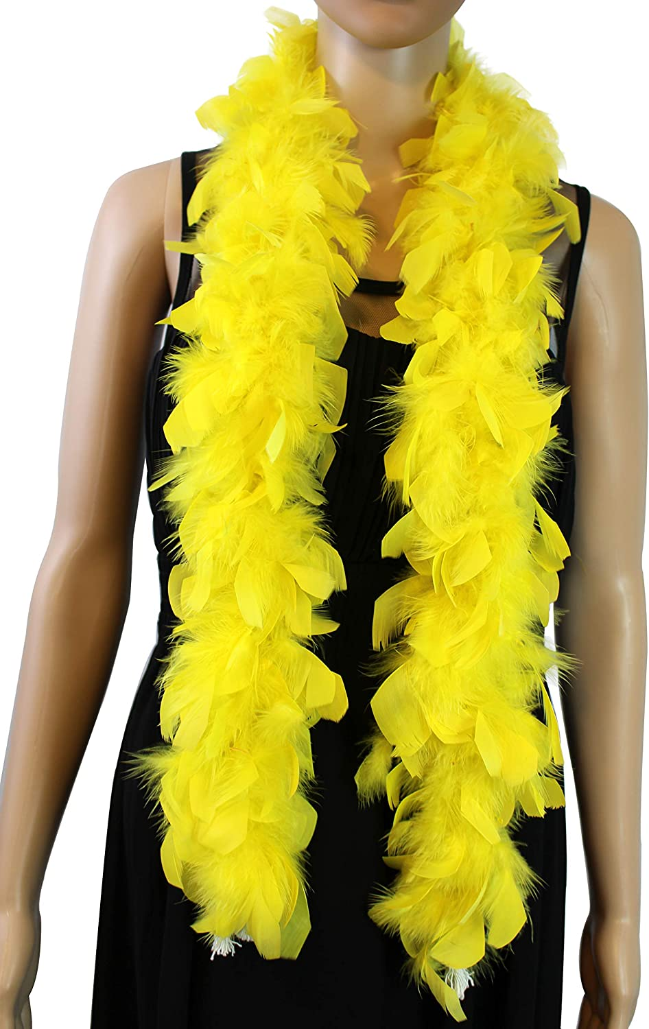 Decoration Christmas Tree 4 Feet Long Chandelle Feather Boa Great for Party Halloween Costume Wedding Over 10 Color 25 Gram Yellow