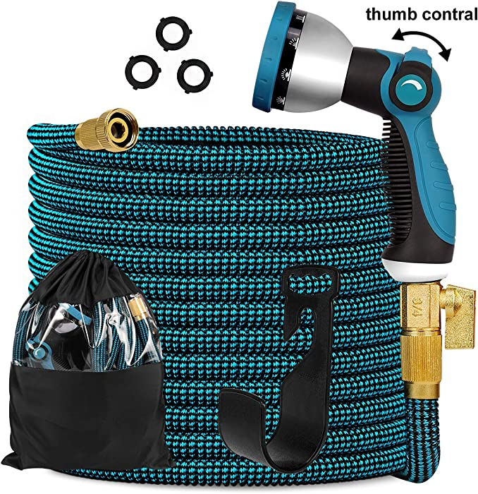 "Knoikos Expandable Garden Hose 100ft - Expanding Flexible Water Hose with 10 Function Nozzle/Durable 3300D /3/4"" Solid Brass Connectors,Easy Storage Kink Free Garden Water Hose"