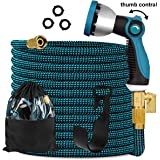 """Knoikos Expandable Garden Hose 100ft - Expanding Flexible Water Hose with 10 Function Nozzle/Durable 3300D /3/4"""" Solid Brass Connectors,Easy Storage Kink Free Garden Water Hose"""