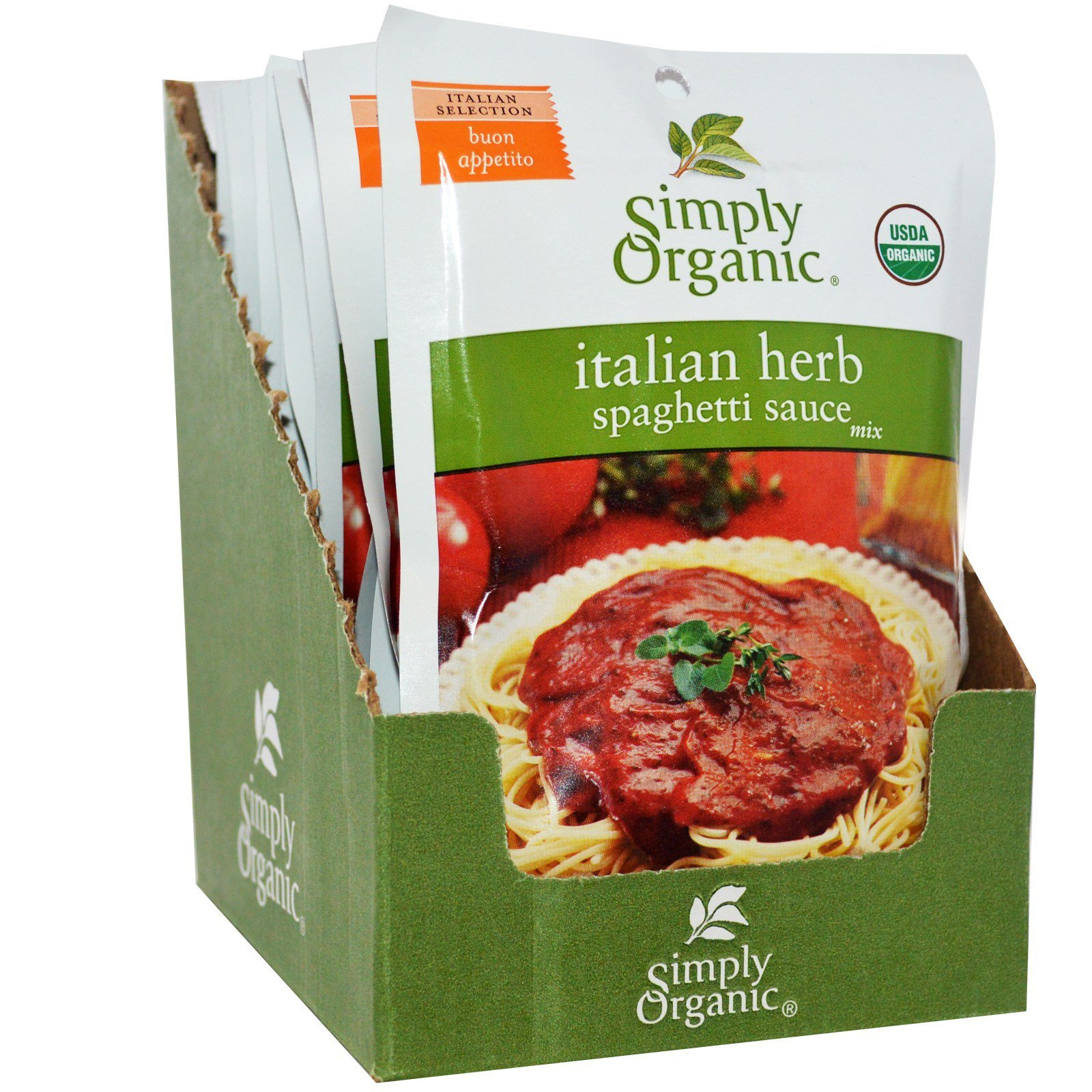 Simply Organic, Italian Herb Spaghetti Sauce Mix, 12 Packets, 1.31 oz ((Pack of 2)