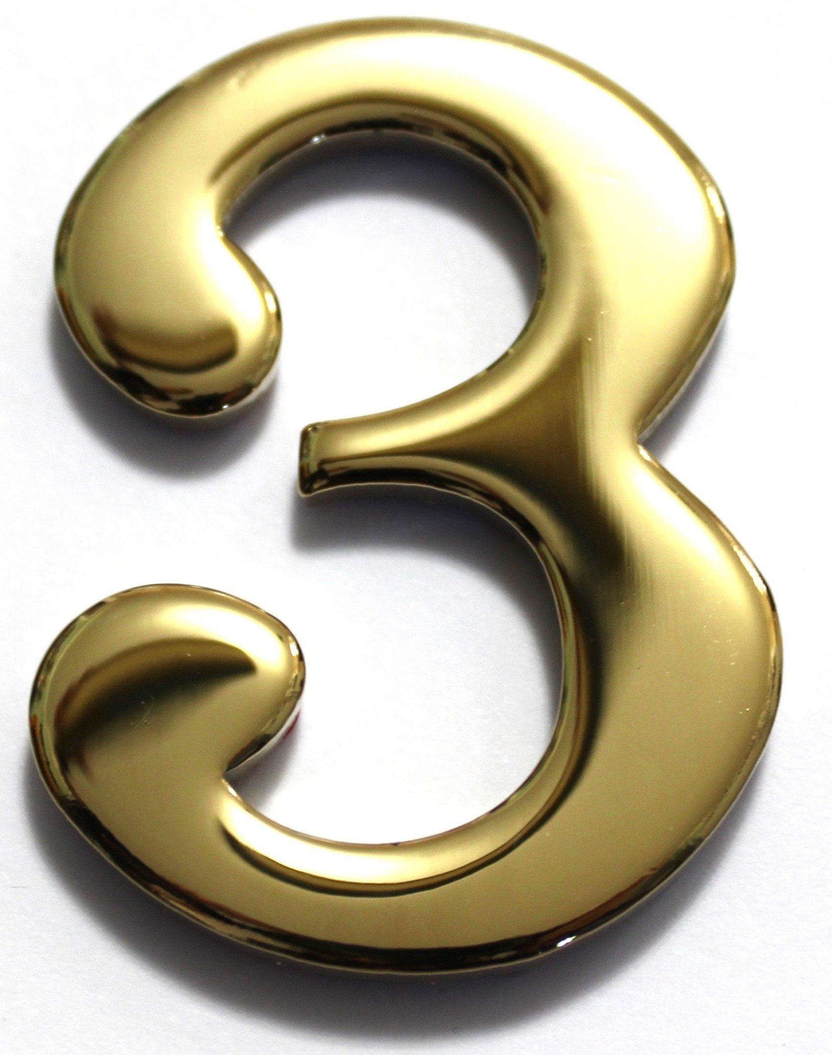 Number 3 - 2'' Brass Numbers Better Box Mailboxes Brass Mail Box Numbers Two Inch Solid Brass Number 3