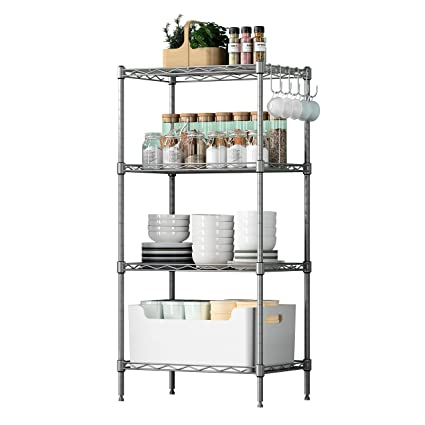 quality design 11fd9 86ece VOONEEN 4 Tier Shelf Shelving Units, Multipurpose Metal Modern Small  Storage Rack with 4 Hooks, Stainless Steel Wire Organisation Suitable For  Pantry ...
