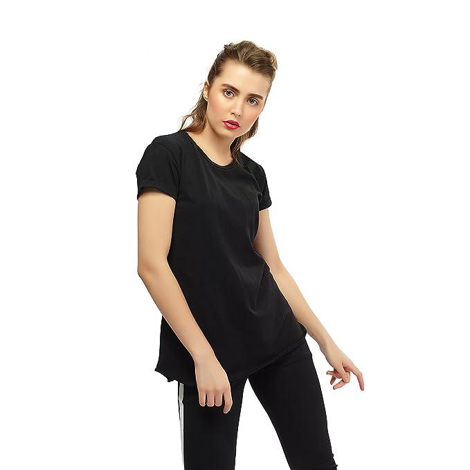 b145d68f1 ZEYO Women Cotton Black Tshirt Half Sleeve Round Neck Solid Plain Top:  Amazon.in: Clothing & Accessories