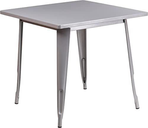 Flash Furniture Commercial Grade 31.5″ Square Silver Metal Indoor-Outdoor Table
