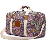 Malirona Canvas Weekender Bag Travel Duffel Bag for Weekend Overnight Trip (Purple Flower)