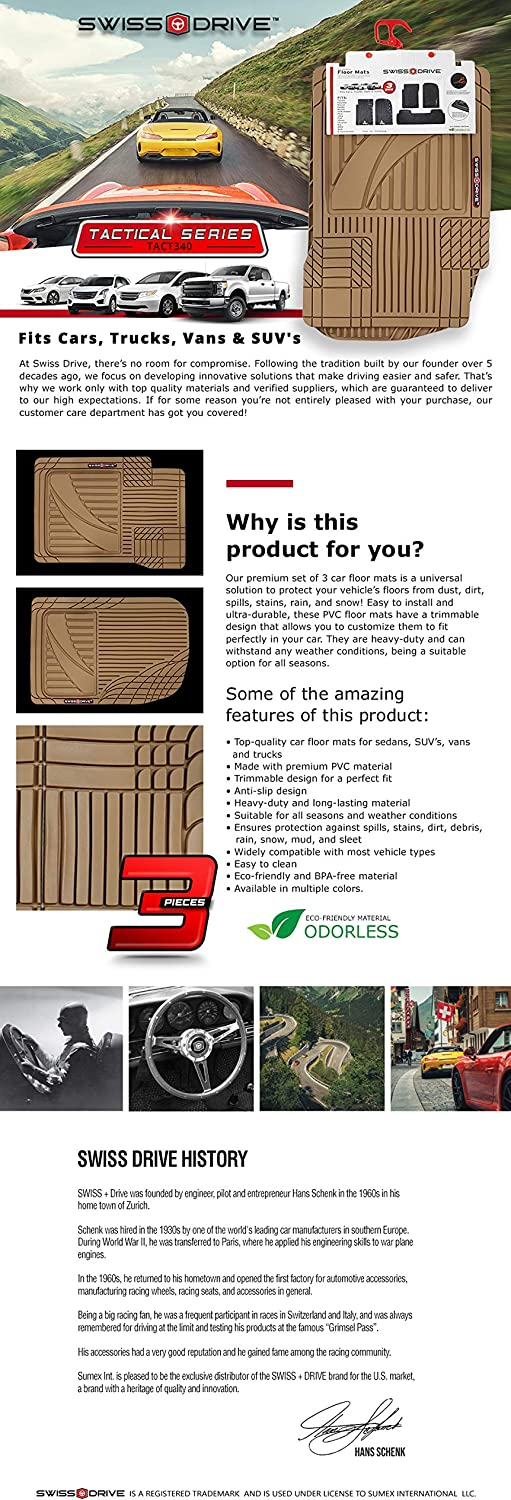 Swiss Drive Rubber Car Mats 3pcs Tact Car Floor Mats Rubber Front Rear PVC Rubber Floor Mats for Cars SUV Van Truck Heavy-Duty Mats with Trimmable Design Tan Beige All-Weather Protection Mats
