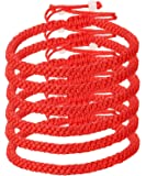 LOYALLOOK Unisex 6pcs Handmade Kabbalah Red Black String Good Luck Bracelet for Prosperity and Success