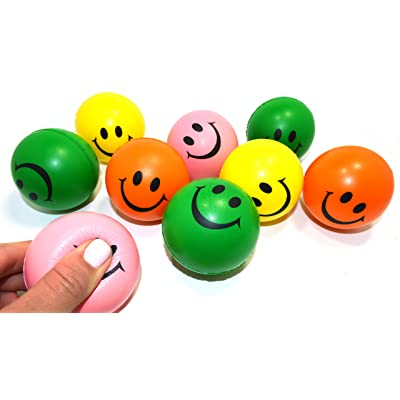 24 Pack Stress Balls | Dazzling Toys Neon Smile Face Relaxable Squeeze Balls (2 Dz) | Assorted Colors