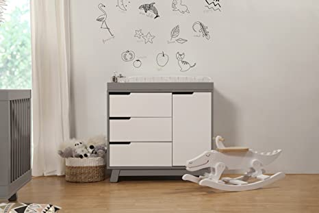Amazon.com : Babyletto Hudson 3 Drawer Changer Dresser With Removable  Changing Tray, Grey / White : Nursery Dressers : Baby