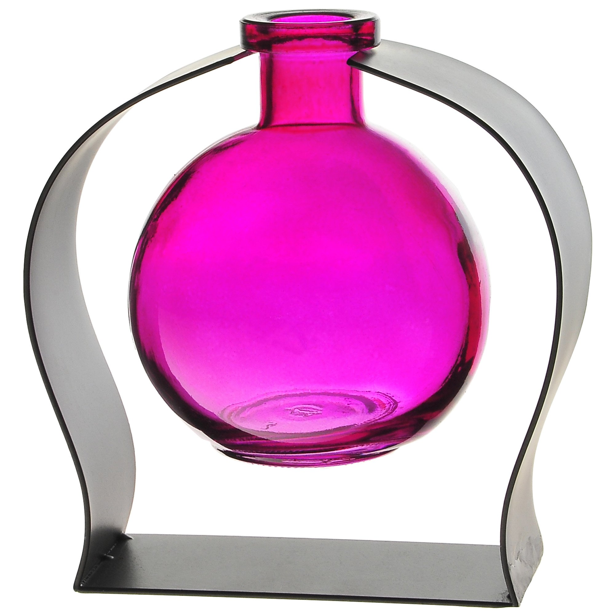 Couronne Company M244-200-07 Ball Recycled Glass Vase & Arched Metal Stand, 5 3/4'', Fuchsia, 1 Piece