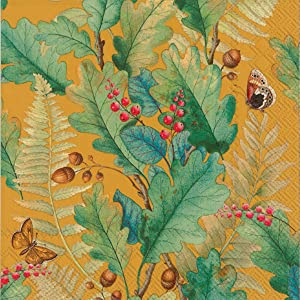 Ideal Home Range 20 Count Decorative Paper Napkins, Luncheon, Oak Tree Ochre