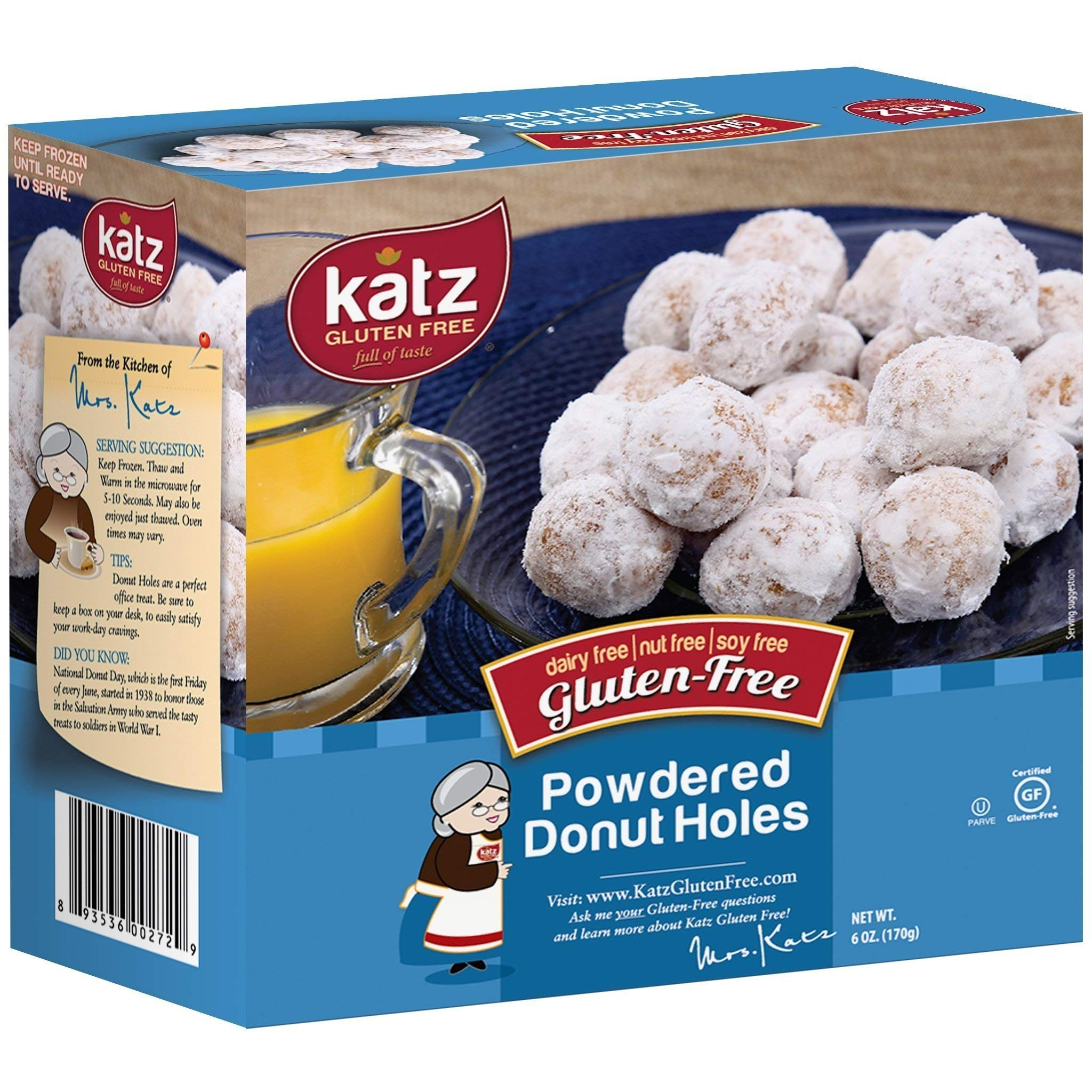 Katz Gluten Free Powdered Donut Holes | Dairy, Nut, Soy and Gluten Free | Kosher (6 Packs, 6 Ounce Each) by Katz Gluten Free