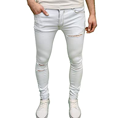 654d60d32fb7 Soulstar Mens Designer Stretch Super Skinny Fit Ripped Jeans (28W x 32L,  Bleach)