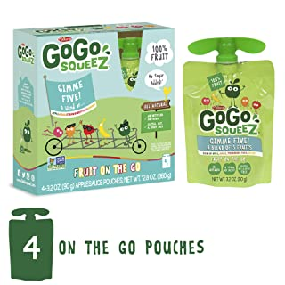 GoGo squeeZ Applesauce on the Go, GIMME 5, 3.2 Ounce (4 Pouches), Gluten Free, Vegan Friendly, Unsweetened Applesauce, Recloseable, BPA Free Pouches (Packaging May Vary)