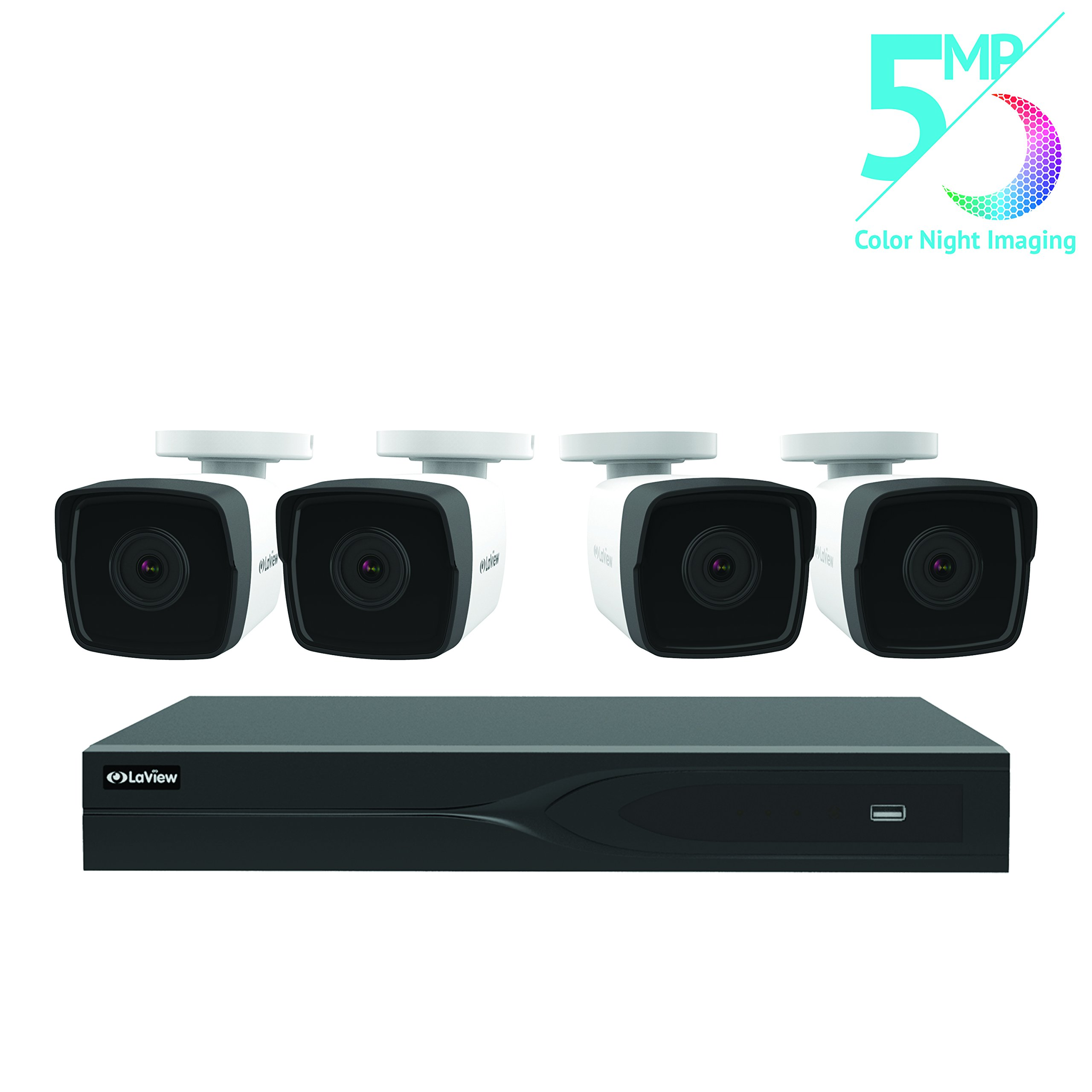 LaView 8 Channel 5MP Business and Home Security Cameras System 2TB HDD Surveillance DVR with 4 5MP Color Night Vision Bullet Cameras by LaView