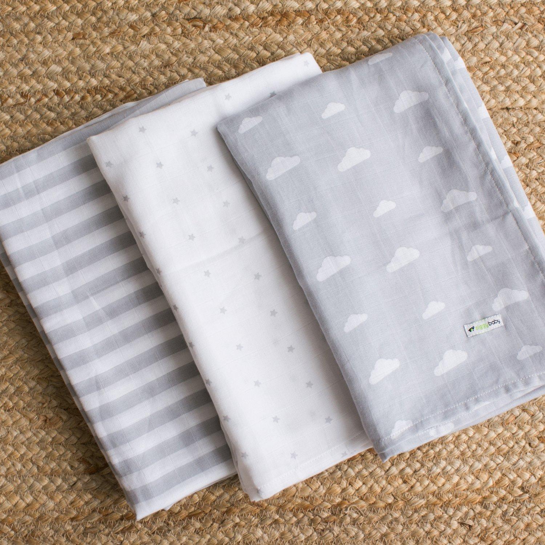 Mantas de muselina para bebé, 120 x 120 cm, 3 unidades, color gris ...