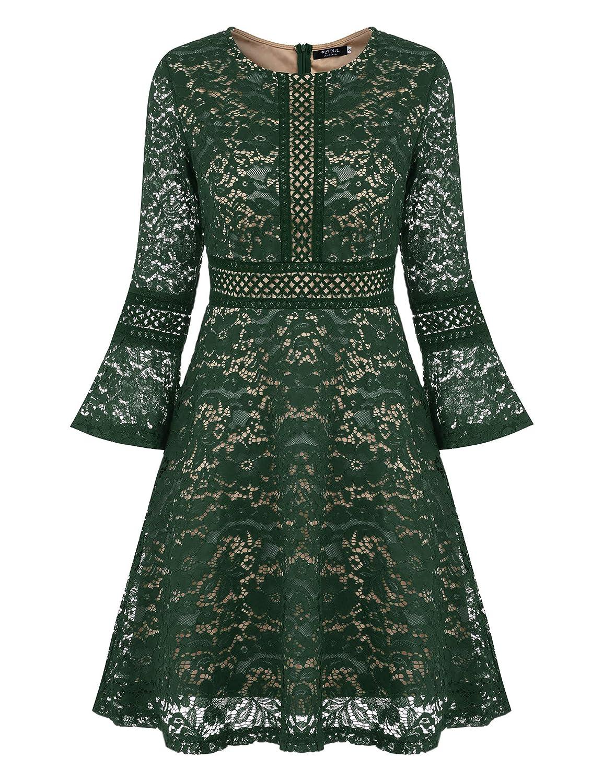 TALLA S. FISOUL Vintage Encaje Floral Coctel Vestido Corta para Mujer Verde