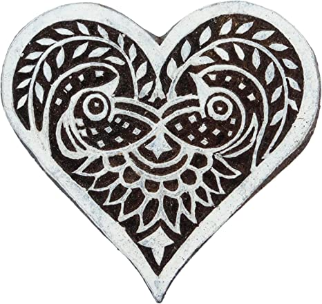 Arty Crafty Floral Heart Motif Wooden Stamp for Printing