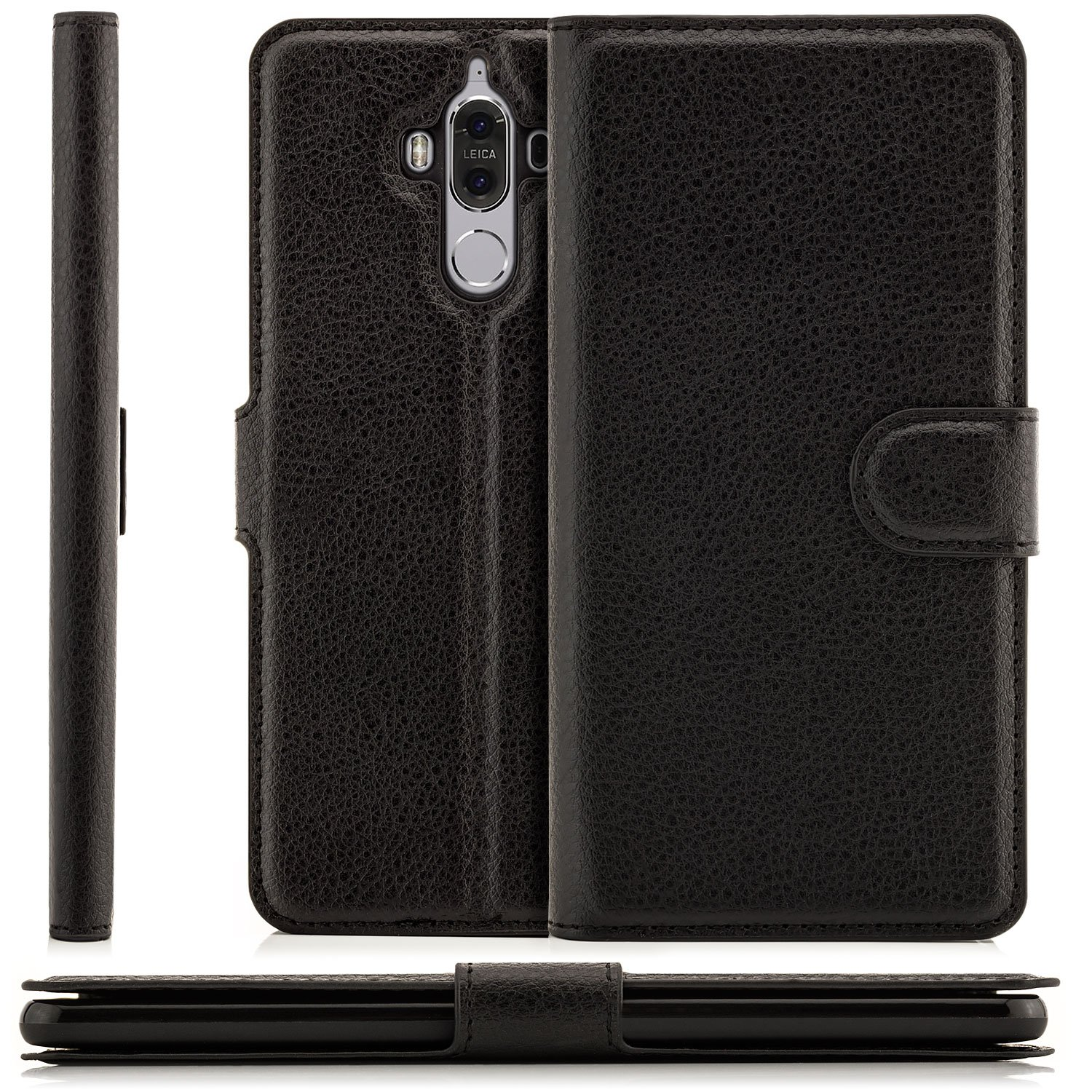Huawei Mate 9 Case Protector Flip Cover [zanasta] Premium Phone Wallet with Card Holder Slots and Magnetic Closure [Slim Profile], Foldable Stand, Black