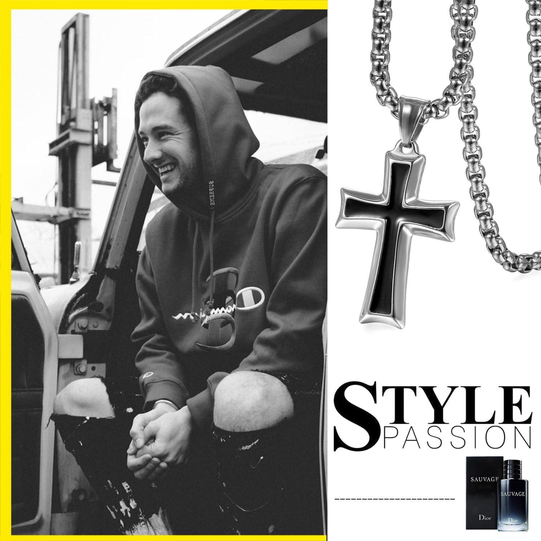 Collar de cadena para hombre de acero inoxidable con colgante de cruz OIDEA color a elegir