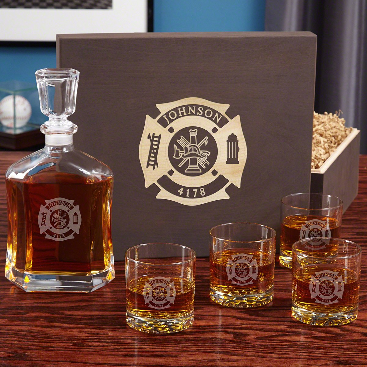 4e36eed493c Amazon.com | Fire & Rescue Engraved Liquor Decanter Set for ...